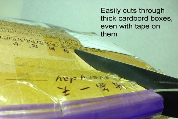 heirloom culinary scissors cutting thick cardboard box